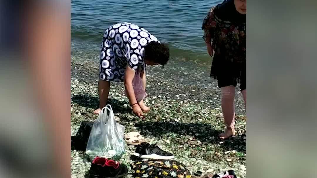 Khách Trung Quốc rủ nhau nhặt đá thủy tinh ở Nga về nhà/Người Nga phẫn nộ vì khách Trung Quốc trộm t