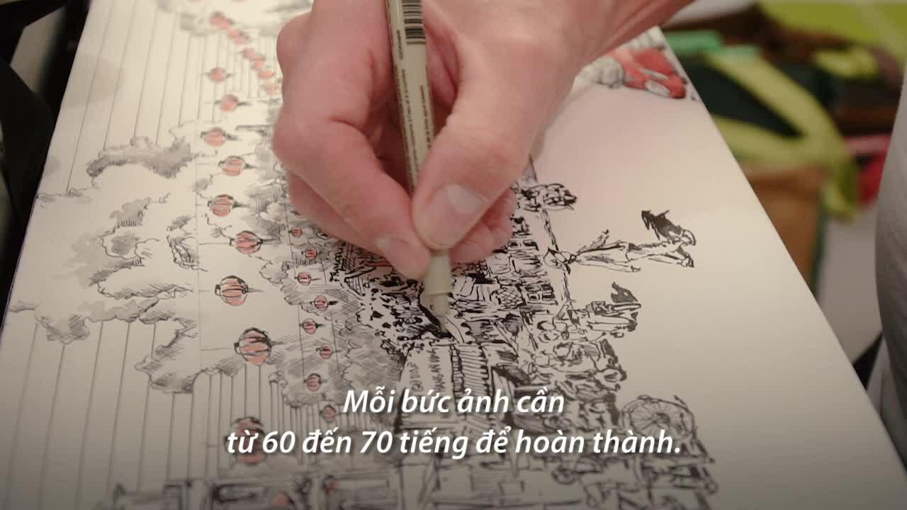 Ông Tây yêu Sài Gòn qua những bức tranh tự vẽ
