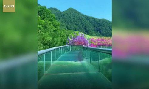 Đường trượt đáy kính dài 1.800 m trên núi ở Trung Quốc/Đường trượt đáy kính như thế giới thần tiên ở