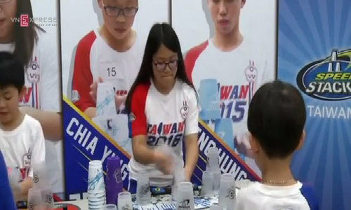 Taiwanese plays sport of stacking cups