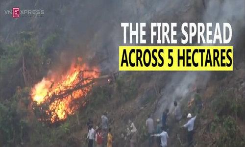 100 firemen battle major forest fire in Danang
