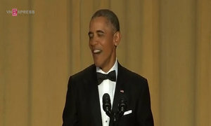 Obama roasts Trump at star-studded dinner