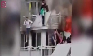 Horrifying moment passengers jump ship to escape the flames