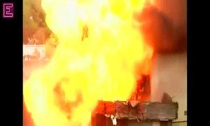 Video captures gas explosion in India slum