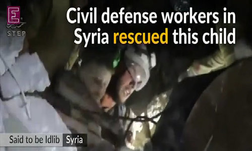 Syrian child rescued from rubble after Idlib airstrike