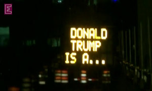 Say what? Hacked road signs get political