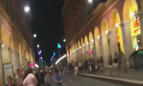 Amateur video shows chaotic scene after Nice attack