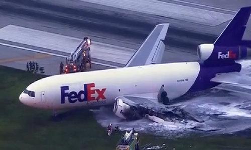 FedEx plane catches fire in Florida