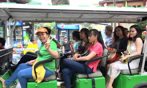 Taking an eco-bus around Saigon