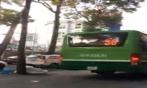 Pedestrians shocked as sidewalk doubles as bus lane in Saigon