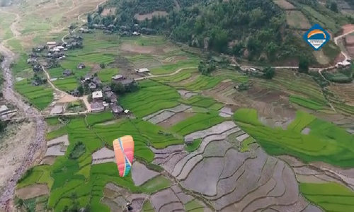 Flying over terraced rice fields in northern Vietnam
