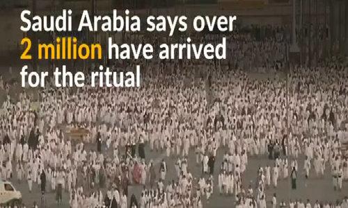 Muslims gather at Mount Arafat for haj climax