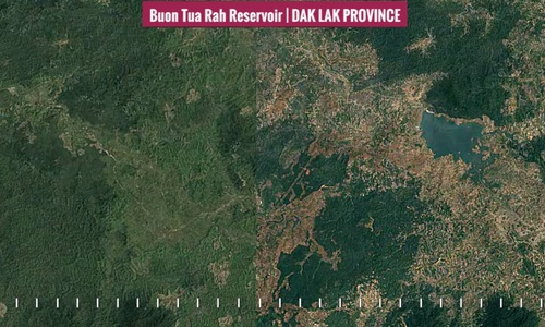 Google timelapse video shows the area around Buon Kuop and Buon Tua Srah reservoirs