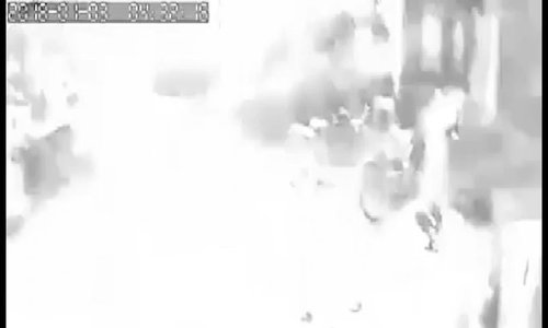 CCTV footage shows how the explosion affected a nearby house