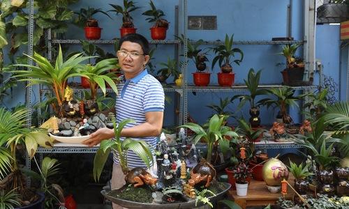 Artist transforms coconut shells into buffalo-shaped Tet penjings