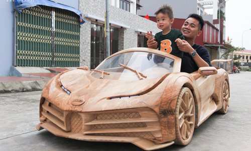 Ride in style: 'car-penter' dad builds drivable wooden Bugatti for son