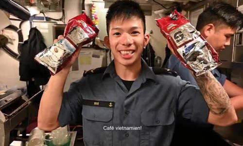 Canadian sailors' first time trying Vietnamese 'ca phe sua da'