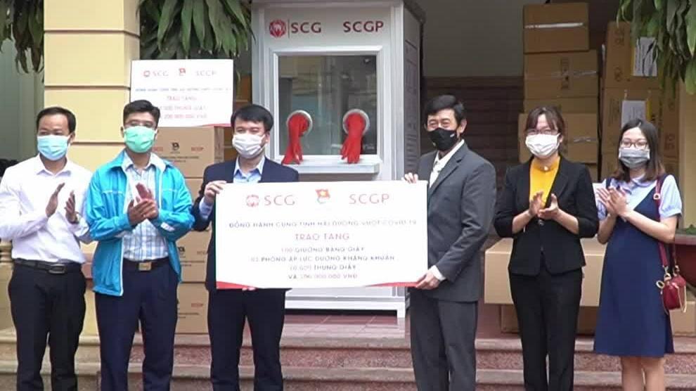 SCGP ủng hộ giường giấy cùng Hải Dương chống dịch