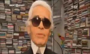 Karl Lagerfeld chụp hình thời trang trong studio
