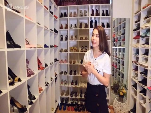 Căn phòng chứa hàng trăm đôi giày hiệu của Trà Ngọc Hằng
