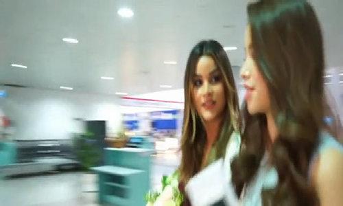 Phạm Hương đón Hoa hậu Dominica ở sân bay
