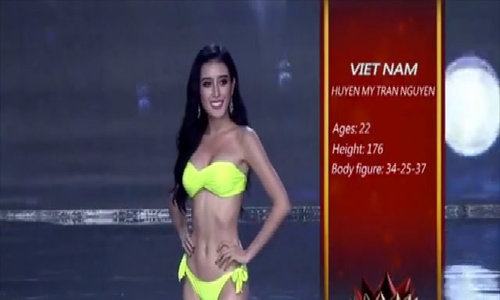 Huyền My trình diễn bikini