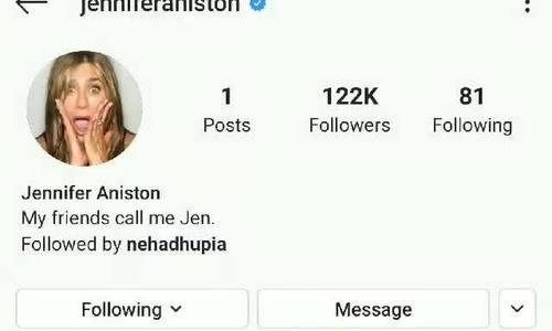 Jennier Aniston Instagram