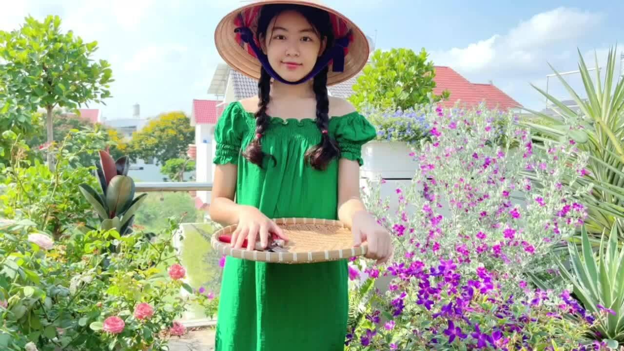 Con gái Quyền Linh thu hoạch trái cây trên vườn sân thượng