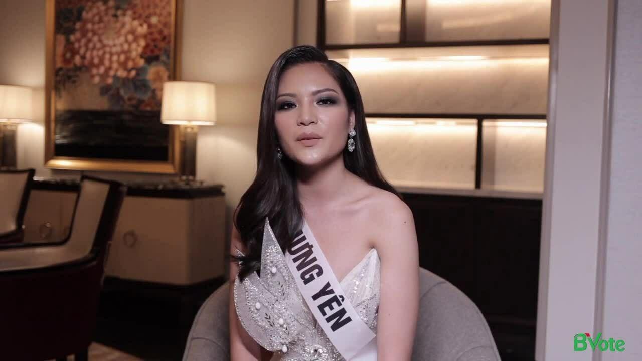 Nguyễn Vân Anh trả lời phỏng vấn tại Miss Universe Vietnam