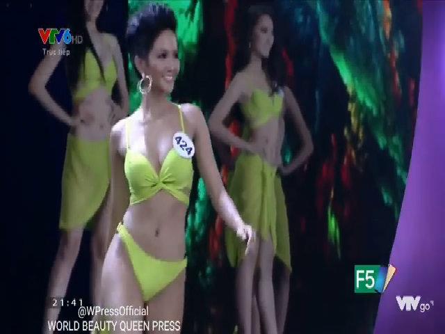 H'Hen Niê trình diễn bikini tại đêm bán kết HHHV