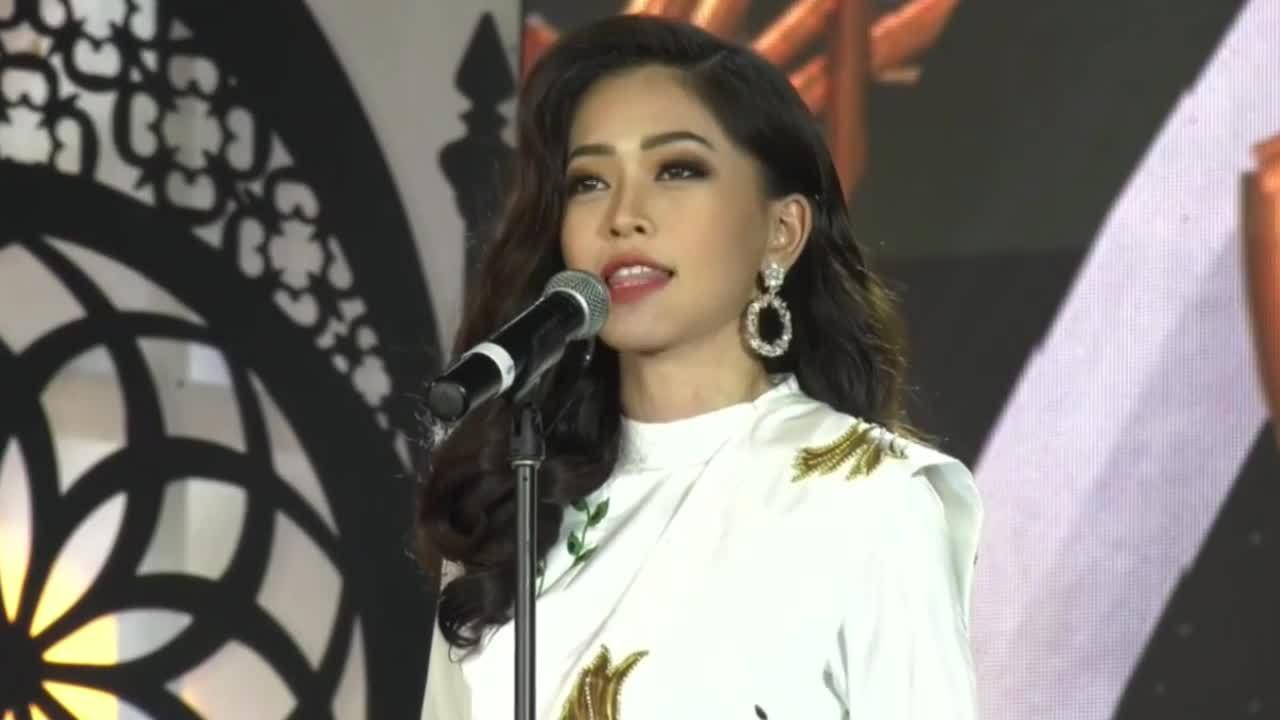 Phương Nga gây ấn tượng với phần thi hùng biện tại Miss Grand International