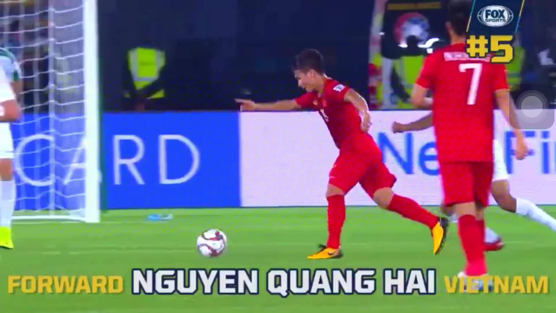 Pha đi bóng của Quang Hải vào Top 10 pha xử lý hay nhất tuần đầu Asian Cup 2019