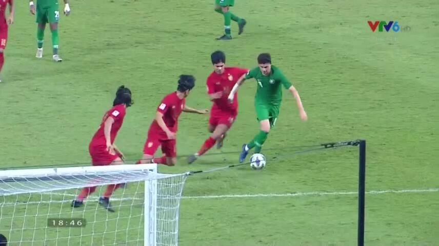 Pha bóng gây tranh cãi khiến Thái Lan bị loại khỏi U23 châu Á