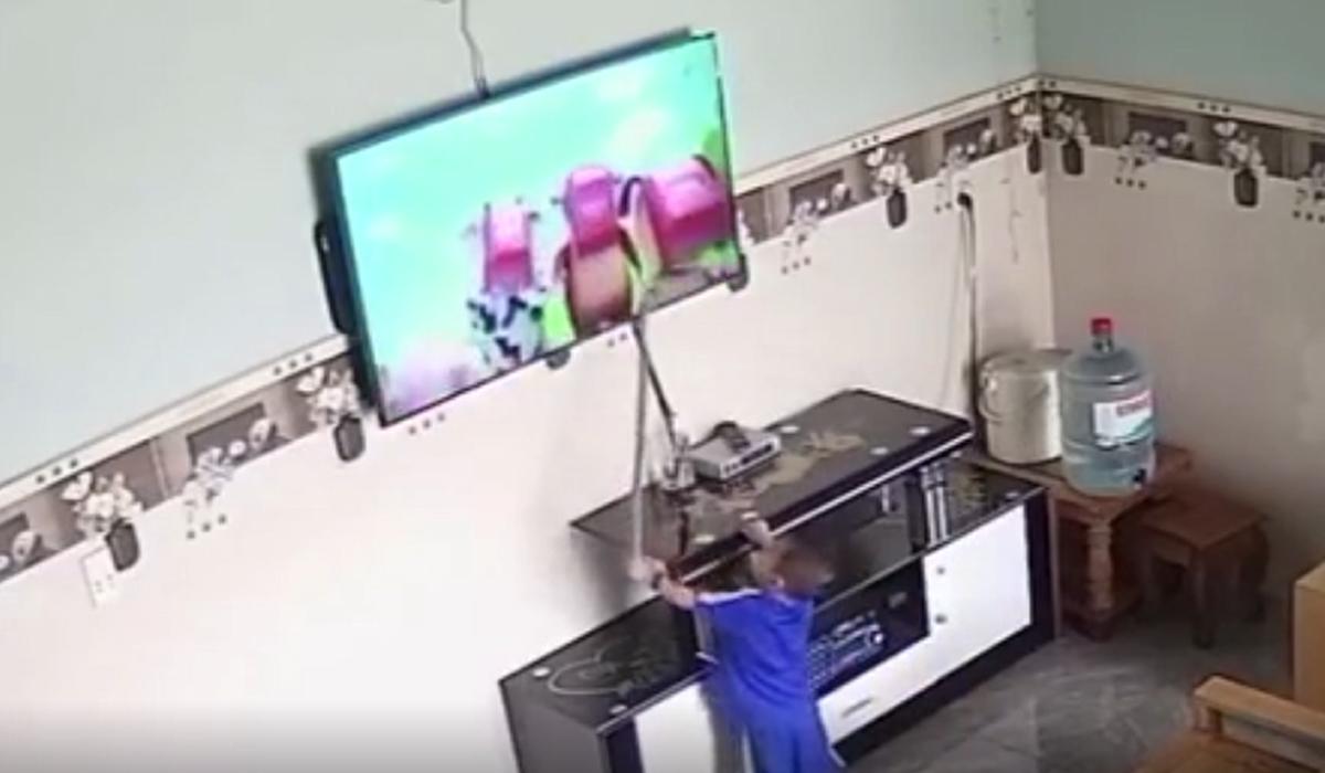 Cậu bé lấy gậy đánh bò sữa trên tivi khiến màn hình vỡ tơi tả