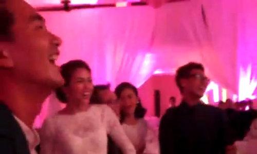 Tăng Thanh Hà nhảy Gangnam Style trong hôn lễ