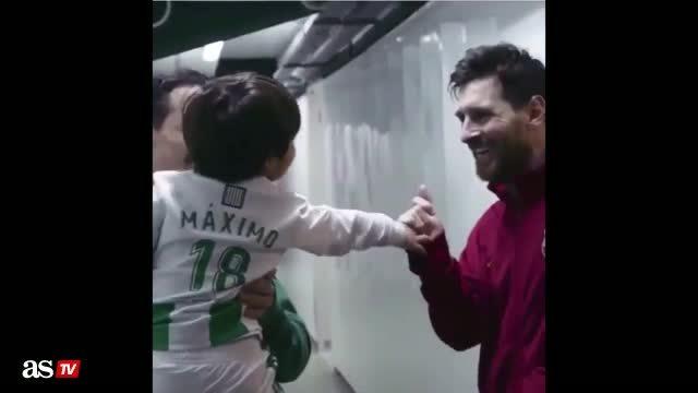 Cầu thủ La Liga bế con trai chờ 'gặp bằng được' Messi