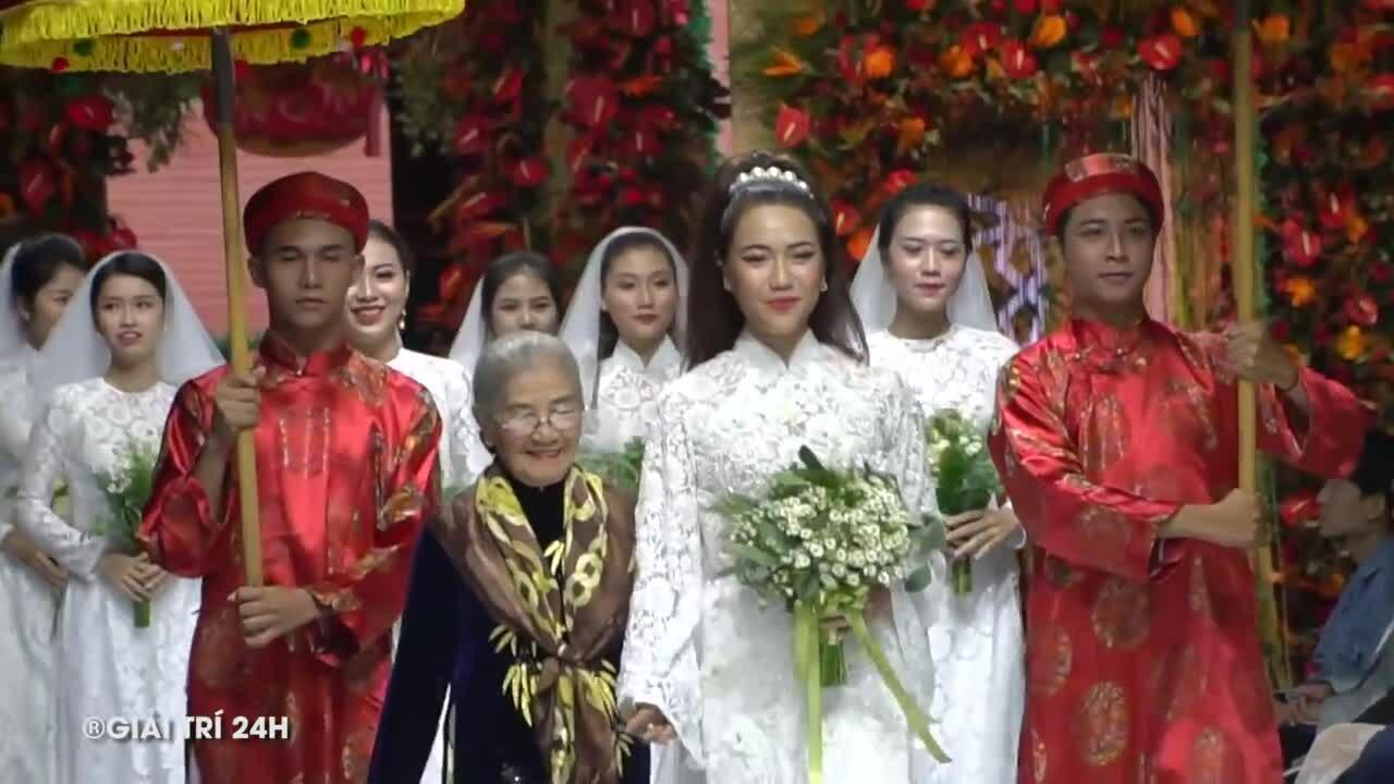 Diệu Nhi diễn áo dài cưới