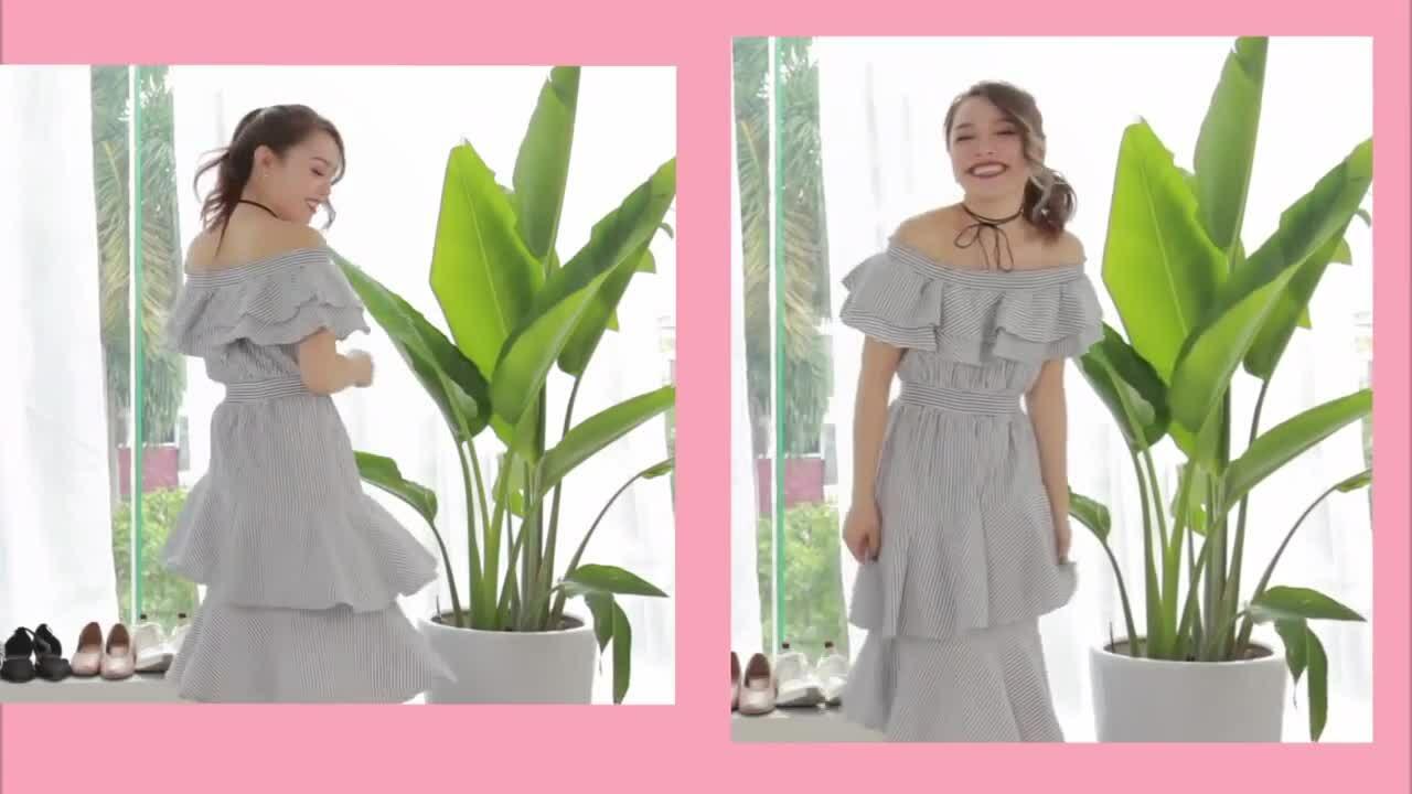 Váy áo trễ vai xinh xắn cho mùa hè