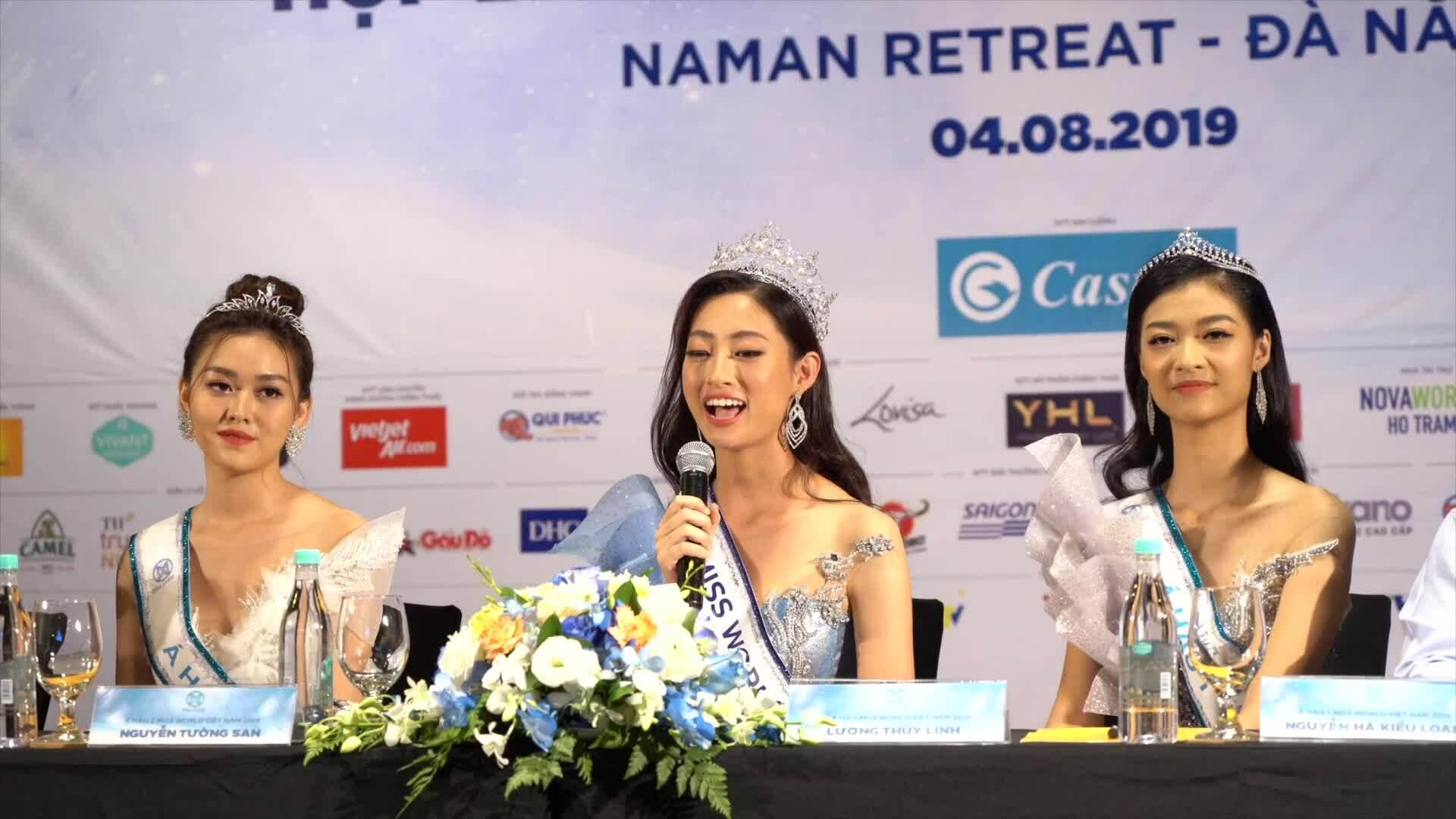 Hoa hậu Lương Thuỳ Linh và hai Á hậu giới thiệu bản thân bằng tiếng Anh