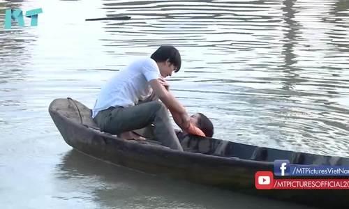 Cao Thái Hà bị ngã sông trong Chàng khờ mất vợ