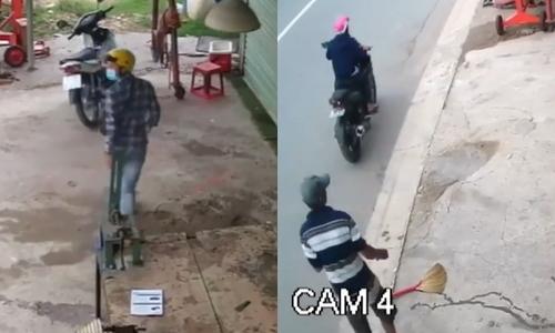 Giả vờ xin lửa hút thuốc để đồng bọn trộm xe máy