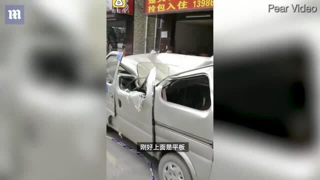 Người nghi tự tử làm bẹp nóc xe sau cú nhảy từ tầng 8