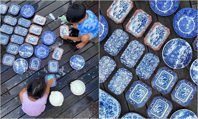 Hai con nhà Tăng Thanh Hà rửa bát điêu luyện