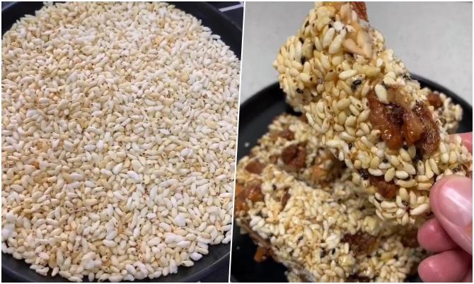 Tự làm snack gạo ngon, bổ, rẻ đãi khách ngày Tết