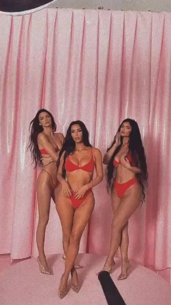 Chị em Kim Kardashian mặc nội y khoe đường cong