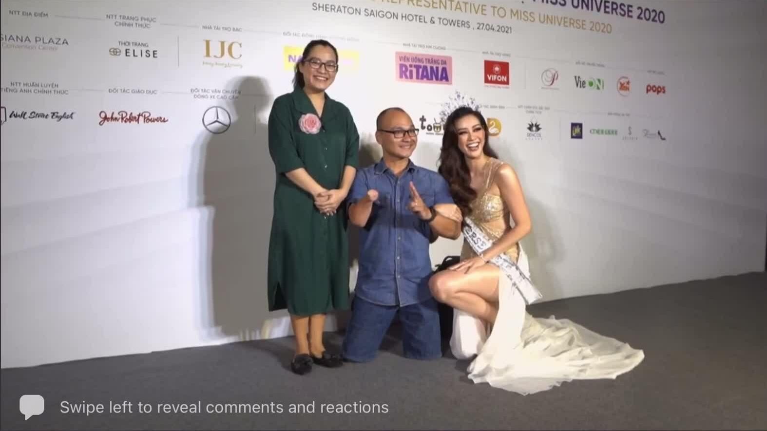 Khánh Vân được khen ngợi khi quỳ gồi chụp ảnh với người khuyết tật