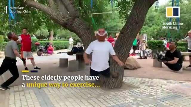 Treo cổ lên cây để chữa đau lưng