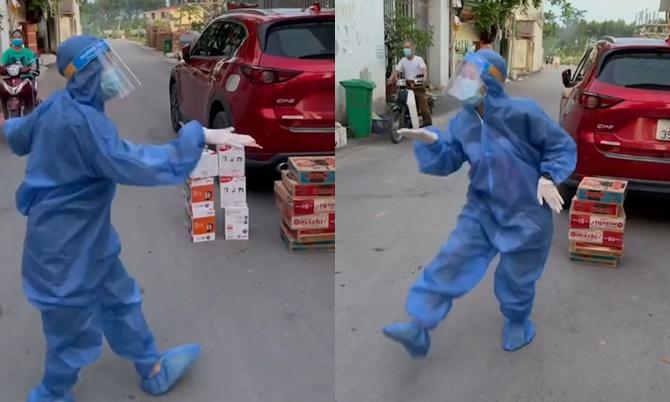Điệu nhảy ngẫu hứng của cô gái chờ tặng đồ tiếp tế ở Bắc Giang