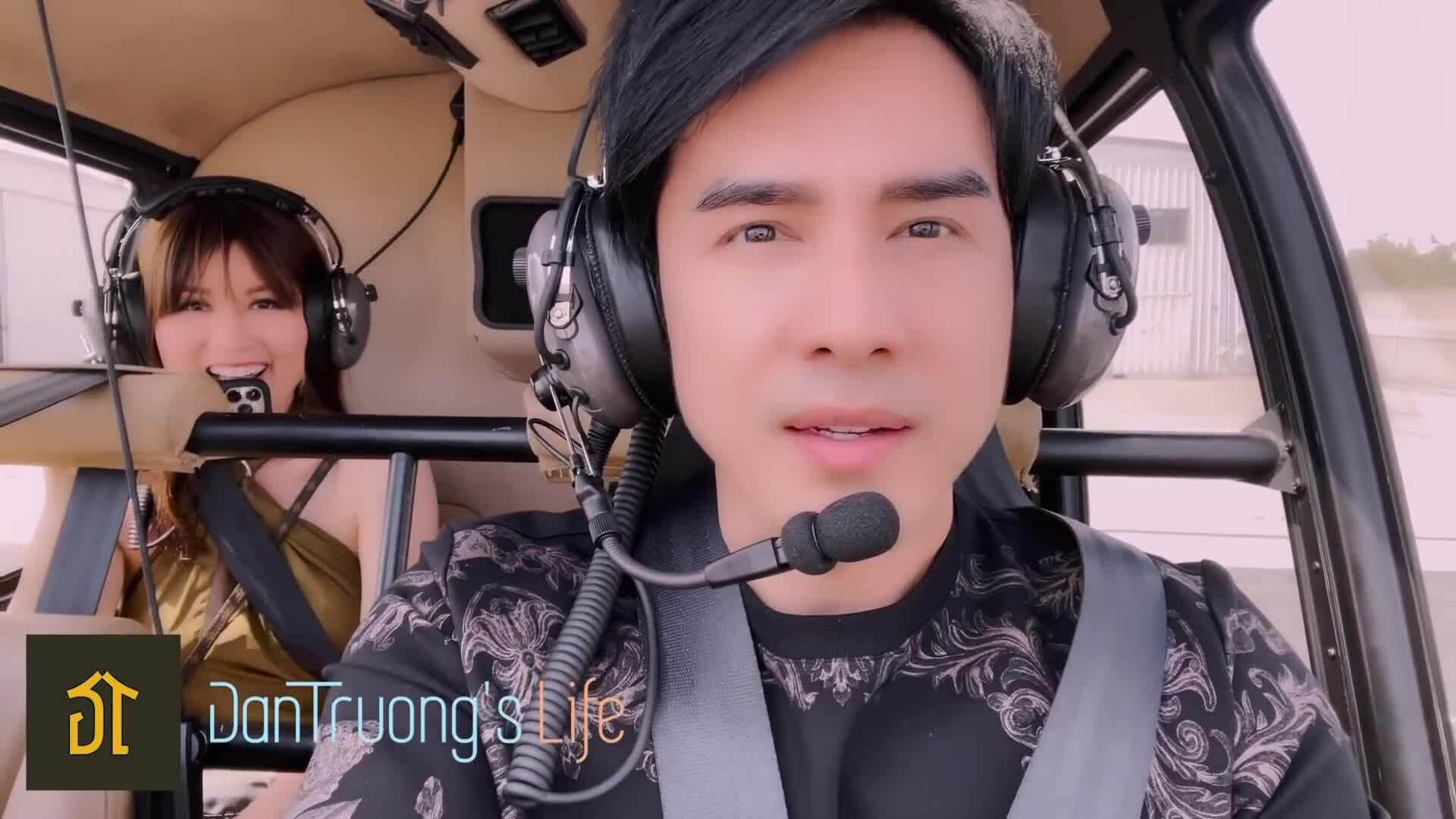 Đan Trường đưa vợ con đi chơi trực thăng