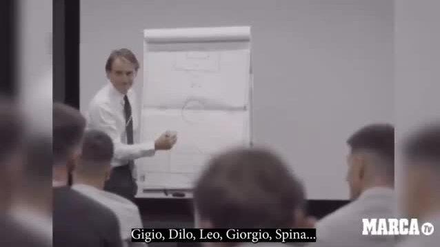 HLV Mancini đùa với các học trò trước chung kết Euro